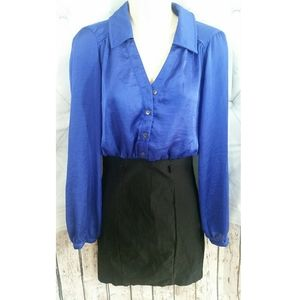 Royal Blue Colorblock Women's Dress S Sexy opening